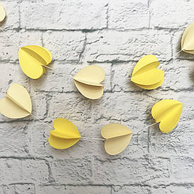 Гірлянда паперова 3D Сердечка (жовтий)