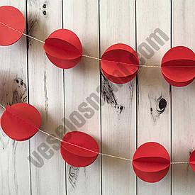 Гірлянда паперова 3D Кульки (червоний)