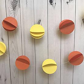 Гірлянда паперова 3D Кульки (жовтий з оранжевим)