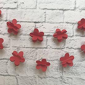 Гірлянда паперова 3D Квіти (червоний)