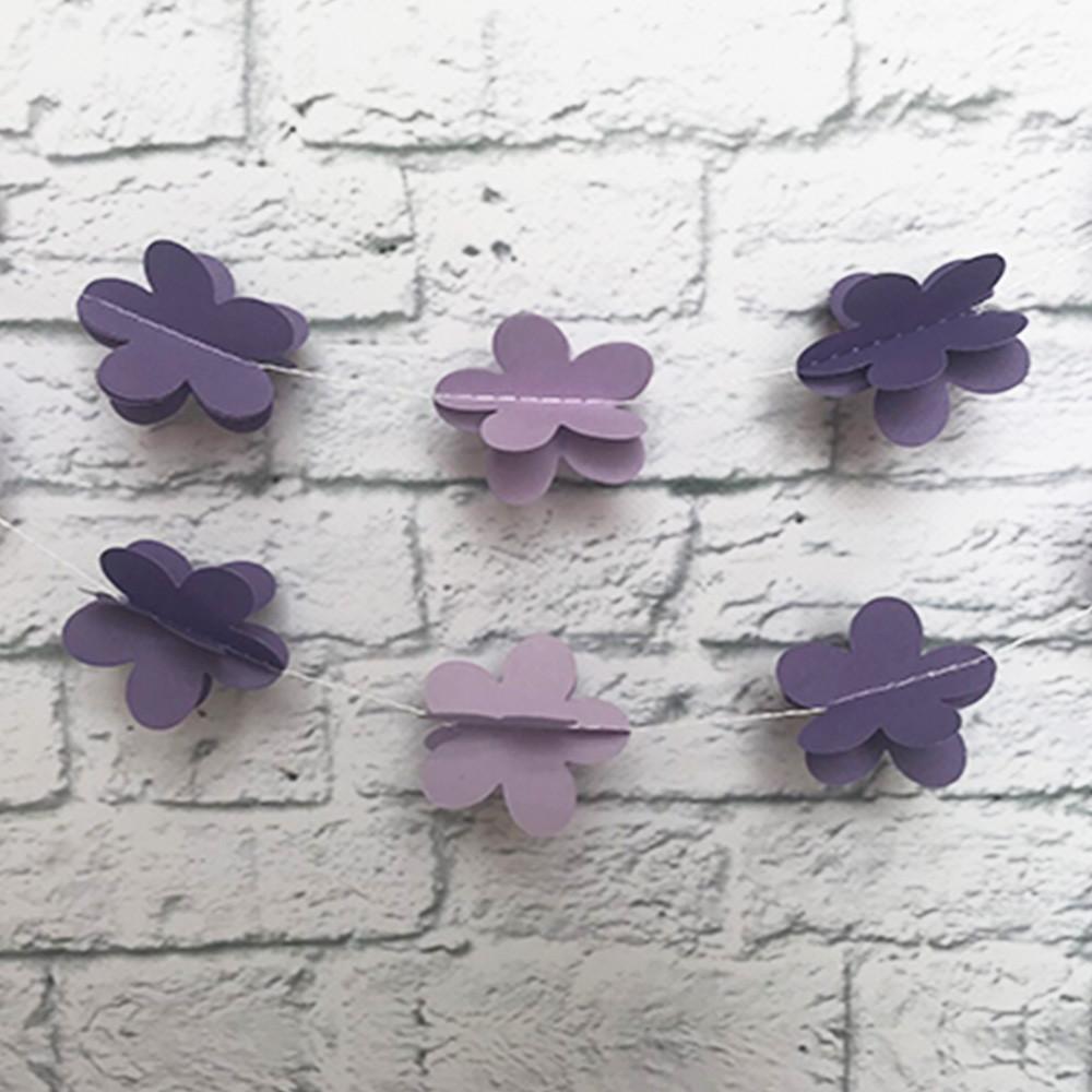 Гирлянда бумажная 3D Цветы (фиалковый)