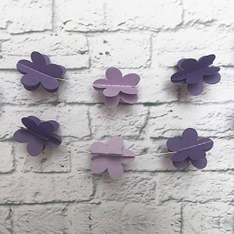 Гирлянда бумажная 3D Цветы (фиалковый), фото 2