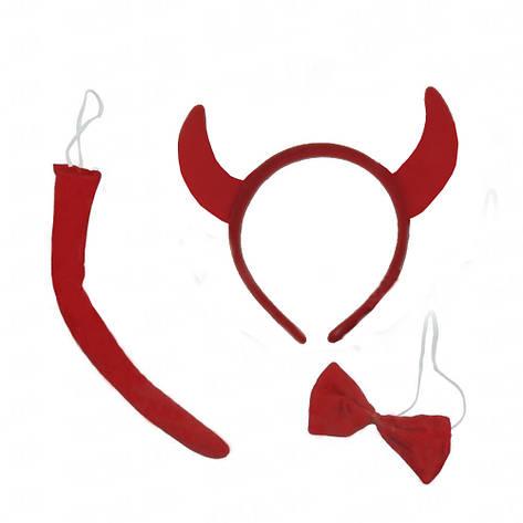 Набор Чертенок (ушки, хвост, галстук-бабочка), фото 2