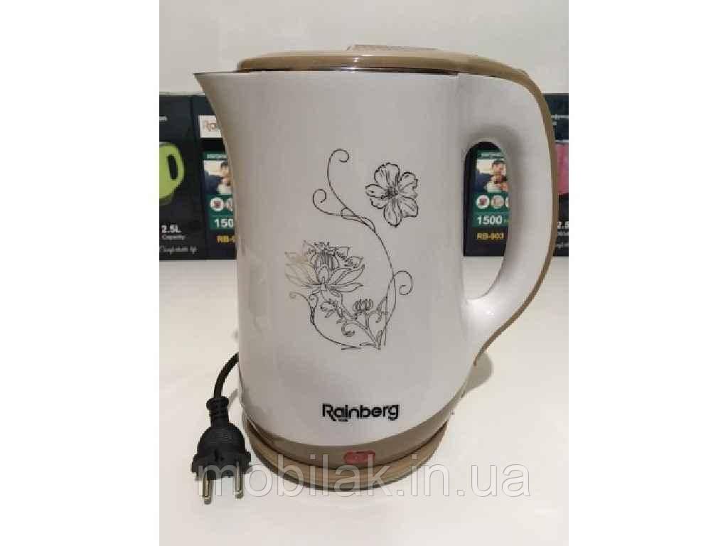 Чайник електричний дисковий, нерж. сталь 2,5л 1500Вт RB-903 WHITE ТМ Rainberg