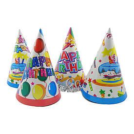 Паперовий Ковпачок 24см Happy Birthday (білий)