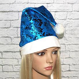 Ковпак Санта-Клауса з малюнком (блакитний)