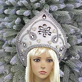 Кокошник корона Снігуроньки Зимові візерунки срібло 10373