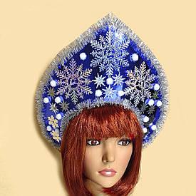 Корона кокошник Зимові чудеса синій 10403