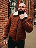 Мужская короткая зимняя замшевая куртка с мехом