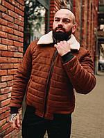 Мужская короткая зимняя замшевая куртка с мехом, фото 1