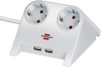 Удлинитель настольный с 2*USB 2.0 заряд 2100 mA; 2 розетки; белый, фото 1