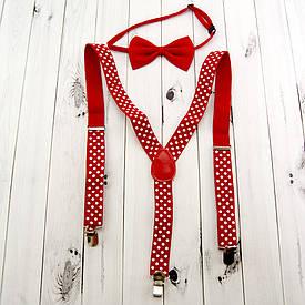 Подтяжки с галстуком (красные)