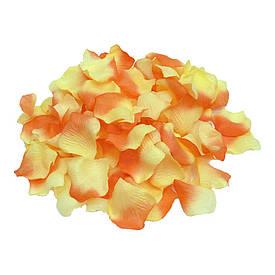 Пелюстки троянд (уп. 120шт) коралово-жовті