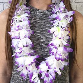 Гавайські леї Гібіскус (білий з фіолетовим)