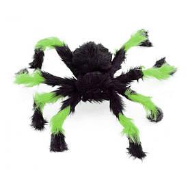Павук із хутра 50см (чорний з зеленим)