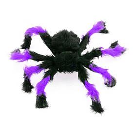 Павук із хутра 50см (чорний з фіолетовим)