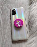 Попсокет Popsockets 3D держатель, подставка для телефона Единорог розовый