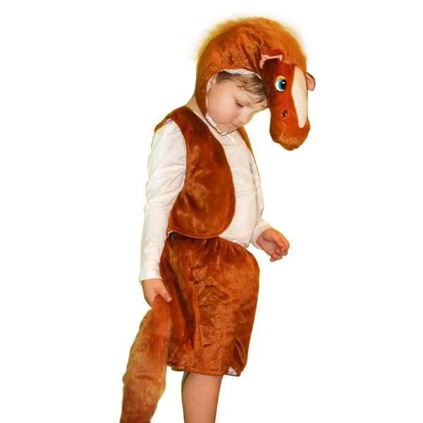 Детский карнавальный костюм меховой Лошадь коричневая (размер М)