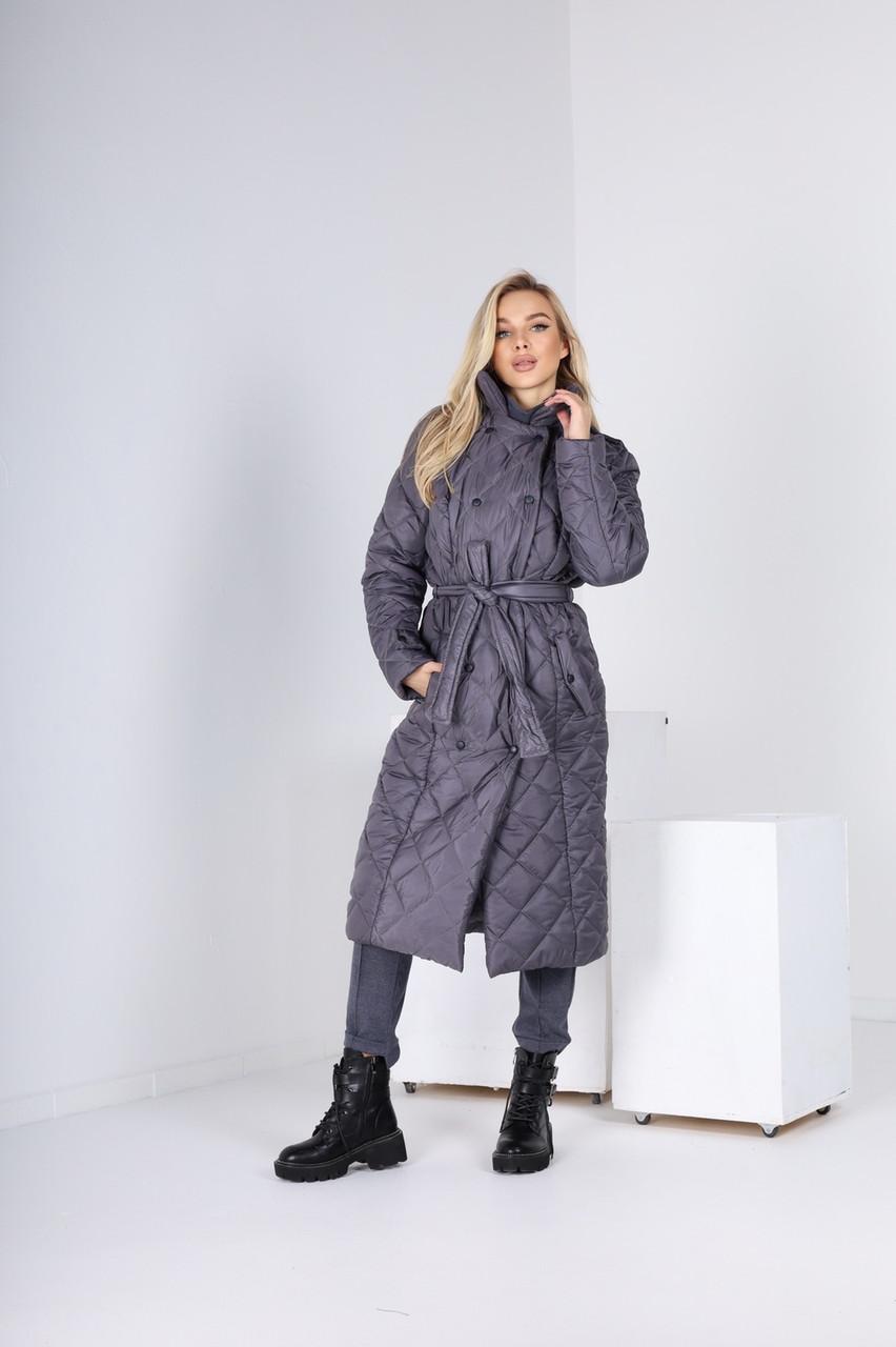 Современное стеганное пальто-куртка с поясом (42-48)