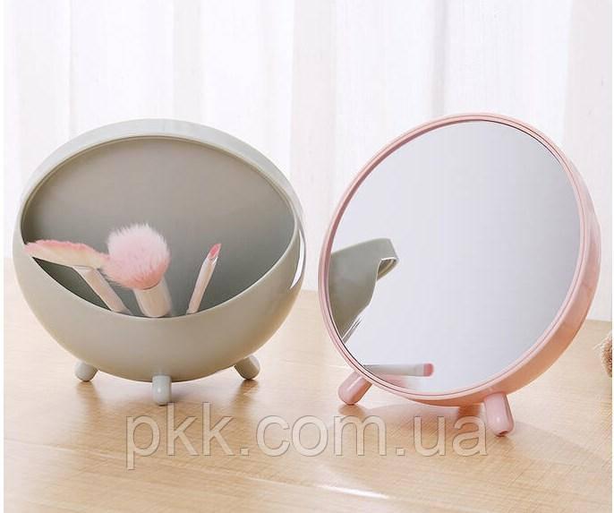 Зеркало косметическое KIKA овальное с кармашком для косметики