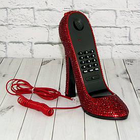 Телефон Туфелька зі стразами червоний