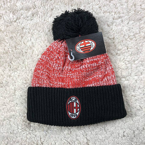 Мужская футбольная шапка Милан красная с черным, фото 2