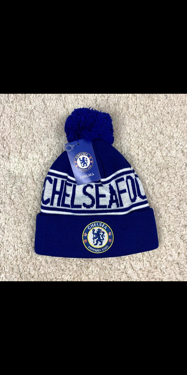 Мужская футбольная шапка Челси, синяя с бубоном