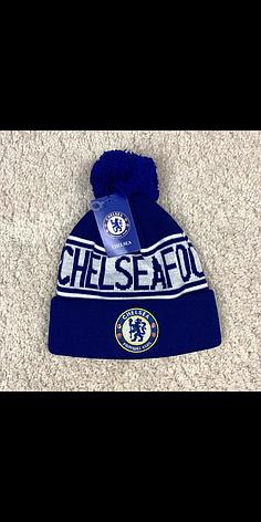 Мужская футбольная шапка Челси, синяя с бубоном, фото 2