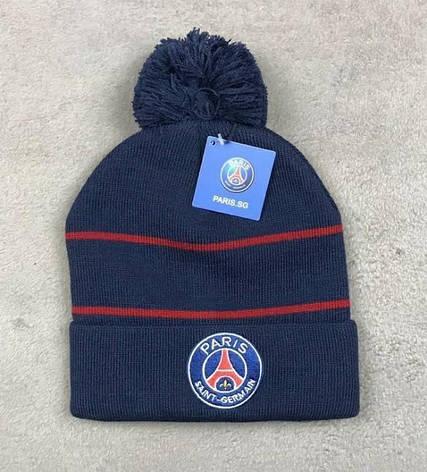 Мужская футбольная шапка ПСЖ, синяя с красной полоской, фото 2