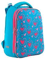 Рюкзак шкільний каркасний 1 Вересня H-12 Romantic hearts Синій 556034, КОД: 1247909
