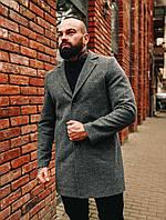 Чоловіче тепле демісезонне однобортне пальто сіре, фото 1