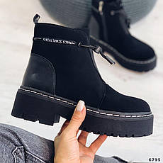 Ботинки женские черные, зимние из эко нубука. Черевики жіночі теплі чорні на платформі, фото 3