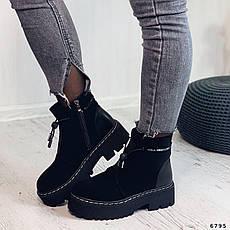 Ботинки женские черные, зимние из эко нубука. Черевики жіночі теплі чорні на платформі, фото 2