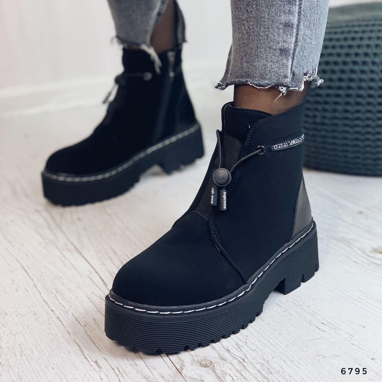 Ботинки женские черные, зимние из эко нубука. Черевики жіночі теплі чорні на платформі