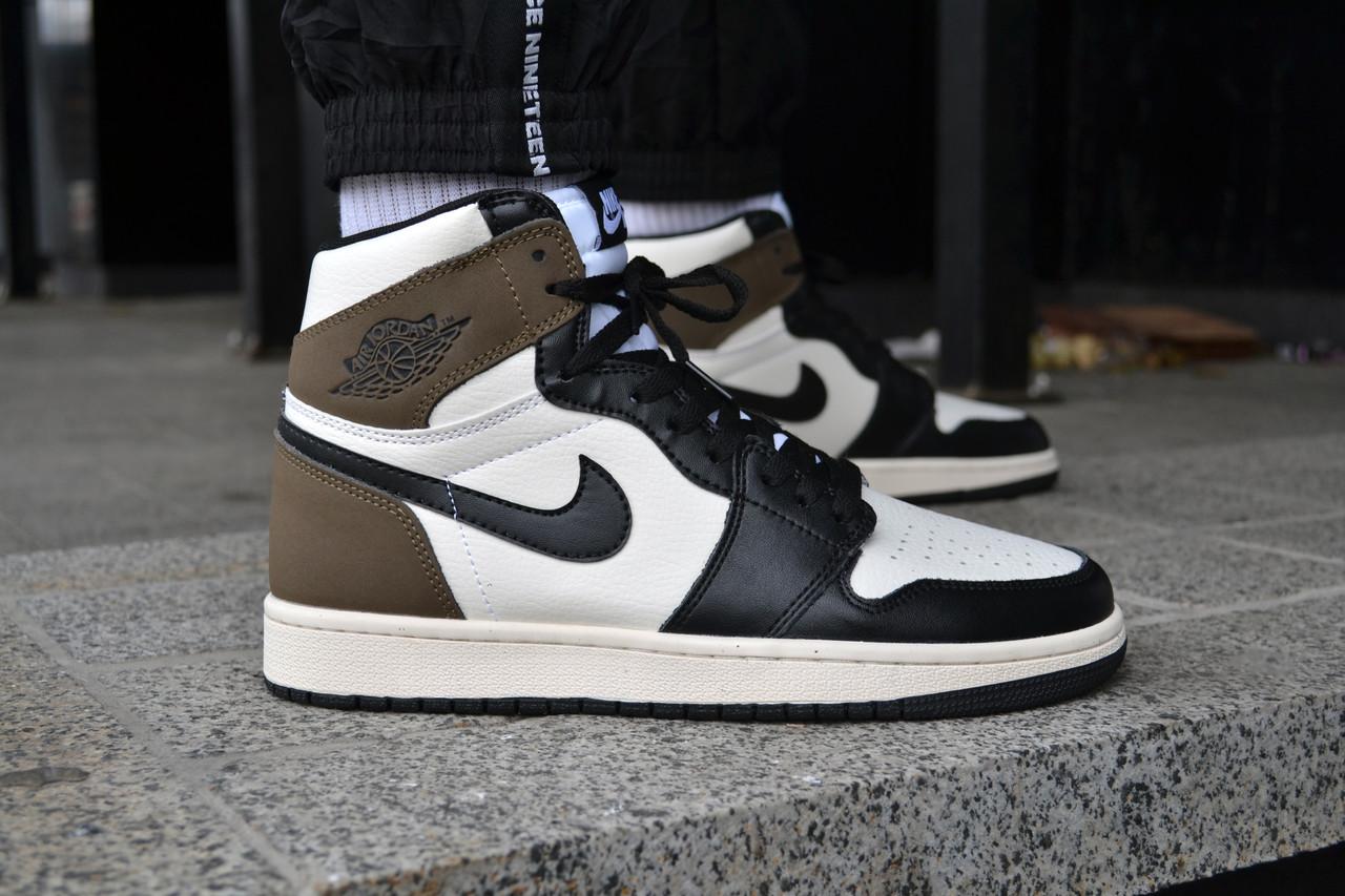 Мужские кроссовки Nike Air Jordan 1 High OG White Green Black ( Реплика )