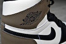 Мужские кроссовки Nike Air Jordan 1 High OG White Green Black ( Реплика ), фото 3