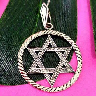 Мужской серебряный кулон Звезда Давида в круге - Крупная подвеска Звезда Давида серебро