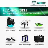 Лазерный уровень 3D DEKO LL12-HVG 12 линий + 2 АКБ * ЗЕЛЕНАЯ ЛИНИЯ *, фото 4