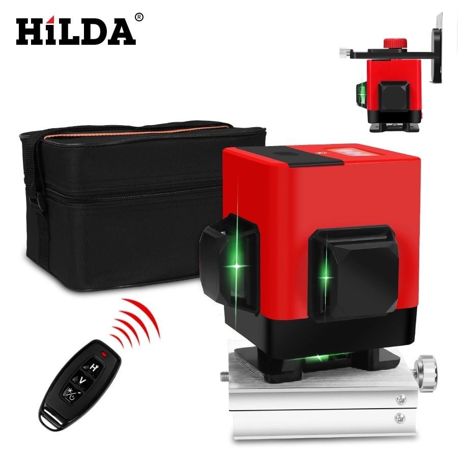 Лазерный уровень для стяжки пола Hilda 3D 12 линий ➤ ЗЕЛЕНЫЙ ЛУЧ + ПУЛЬТ