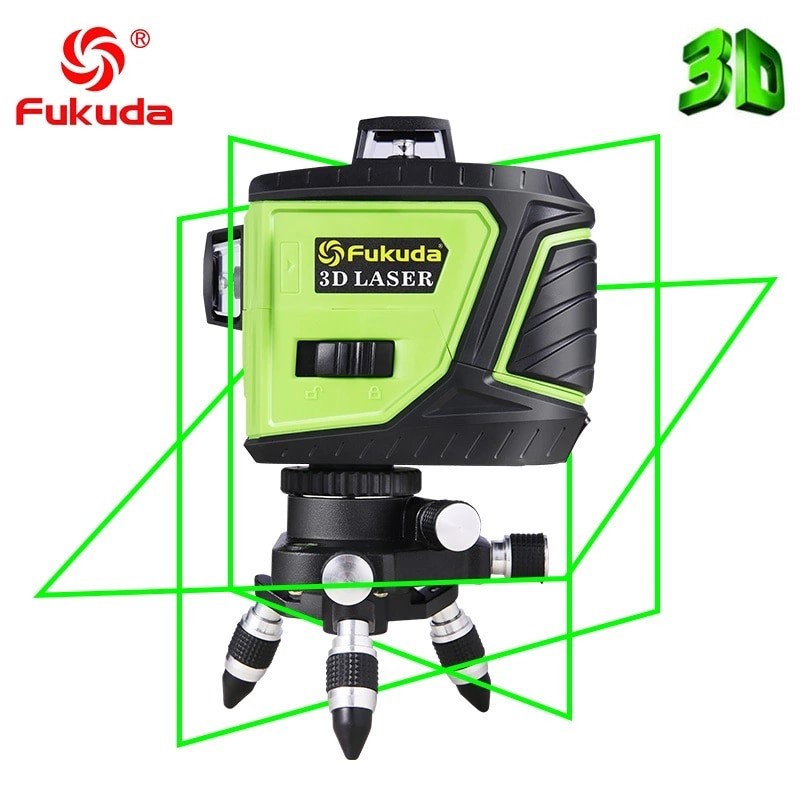 ➤ ЗЕЛЕНИЙ ПРОМІНЬ ➜ Лазерний рівень Fukuda MW-93T-3GJ 3D 12 ліній
