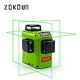 ♦ ЗЕЛЕНЫЙ ЛУЧ ♦ Лазерный уровень Zokoun 3D 12 линий, фото 4