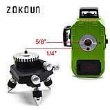 ♦ ЗЕЛЕНЫЙ ЛУЧ ♦ Лазерный уровень Zokoun 3D 12 линий, фото 5
