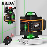 4D Лазерный уровень Hilda 4D 16 линий для стяжки пола, плитки ➜ ПУЛЬТ ➜ Кронштейн ➜ Зеленые лучи, фото 2