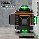4D Лазерный уровень Hilda 4D 16 линий для стяжки пола, плитки ➜ ПУЛЬТ ➜ Кронштейн ➜ Зеленые лучи, фото 4