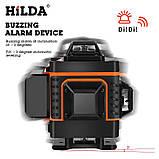 4D Лазерный уровень Hilda 4D 16 линий для стяжки пола, плитки ➜ ПУЛЬТ ➜ Кронштейн ➜ Зеленые лучи, фото 5