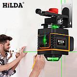 4D Лазерный уровень Hilda 4D 16 линий для стяжки пола, плитки ➜ ПУЛЬТ ➜ Кронштейн ➜ Зеленые лучи, фото 7