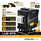 Лазерный уровень для ► СТЯЖКИ ПОЛА 3D 12 линий Deko LL12-GTD + ПУЛЬТ + КРОНШТЕЙН + АКБ ► Зеленые лучи, фото 2