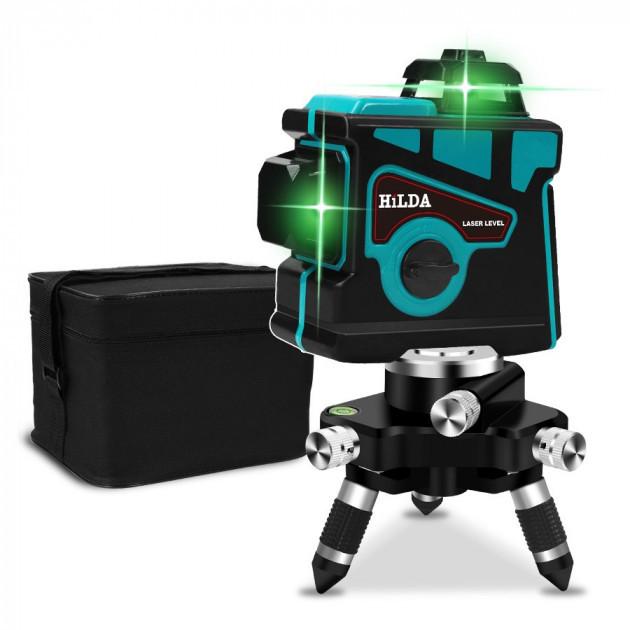 Лазерный уровень Hilda 3D 12 линий + ТРЕНОГА ☀ БИРЮЗОВЫЙ ЛУЧ ☀