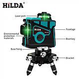 Лазерный уровень Hilda 3D 12 линий + ТРЕНОГА ☀ БИРЮЗОВЫЙ ЛУЧ ☀, фото 6