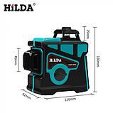 Лазерный уровень Hilda 3D 12 линий + МАГНИТНЫЙ КРОНШТЕЙН + мини ТРЕНОГА ☀ БИРЮЗОВЫЙ ЛУЧ ☀, фото 5